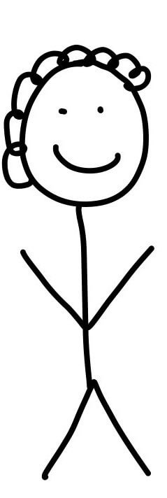 A stick figure smiling